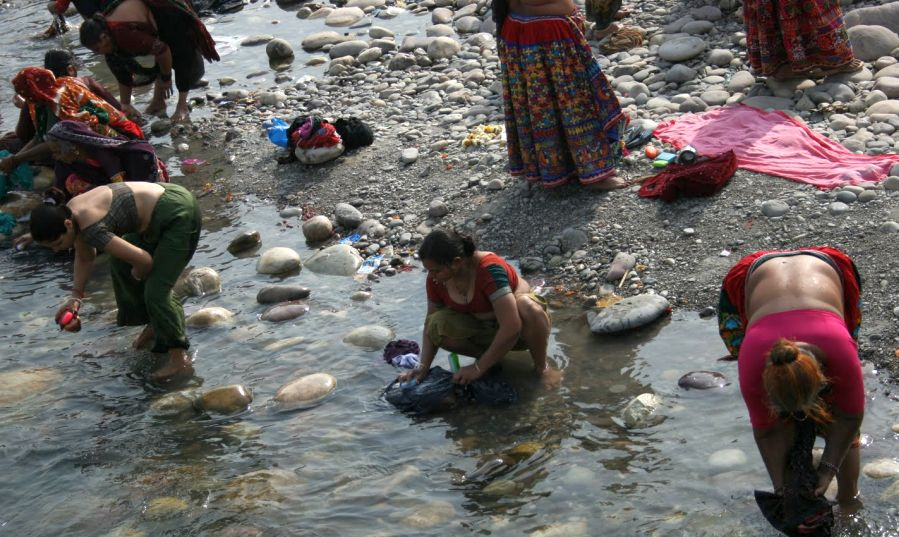 Washing in the Ganges River in India