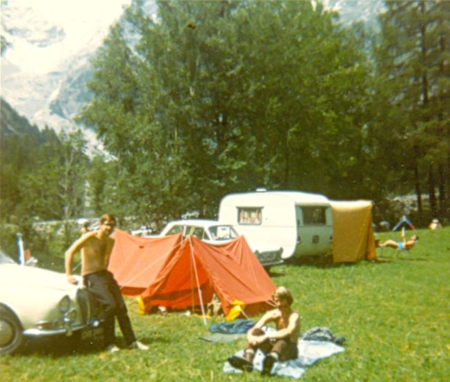 Campsite at Courmayeur beneath Mont Blanc Massif