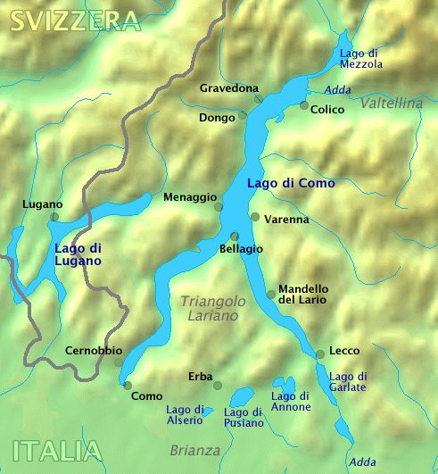 Map of Lake Como in Northern Italy