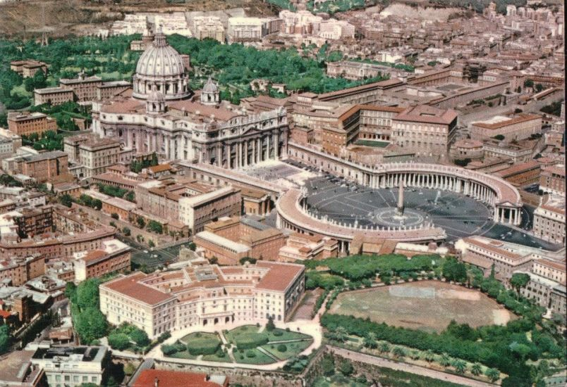 Aerial View over Saint Peter's in Vatican City