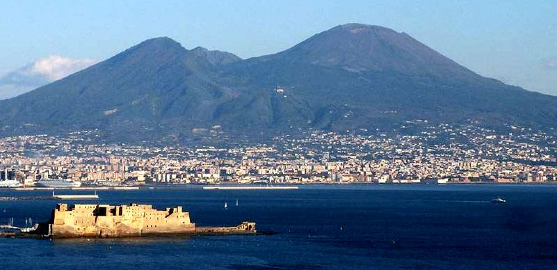 Mount Vesuvius from Bay of Naples in Italy