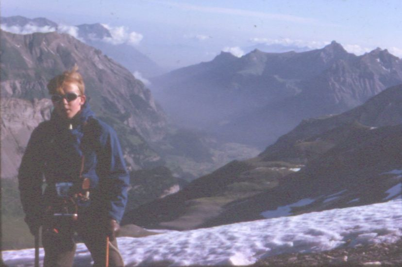 On ascent of Rinderhorn in the Bernese Oberland region of the Swiss Alps
