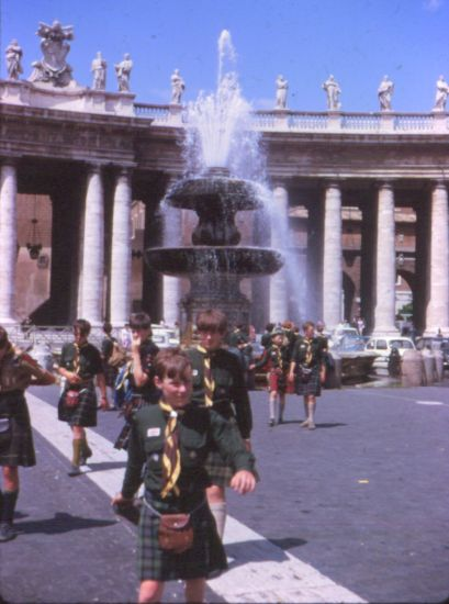 Members of 24th Glasgow ( Bearsden ) Scout Group in Saint Peter's Square in Rome