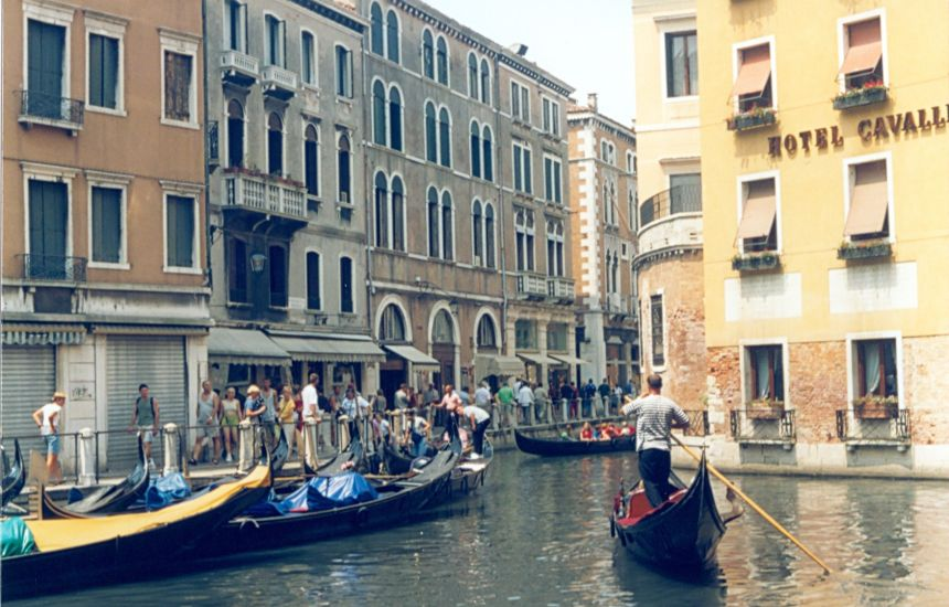Canal and Gondolas in Venice in Italy