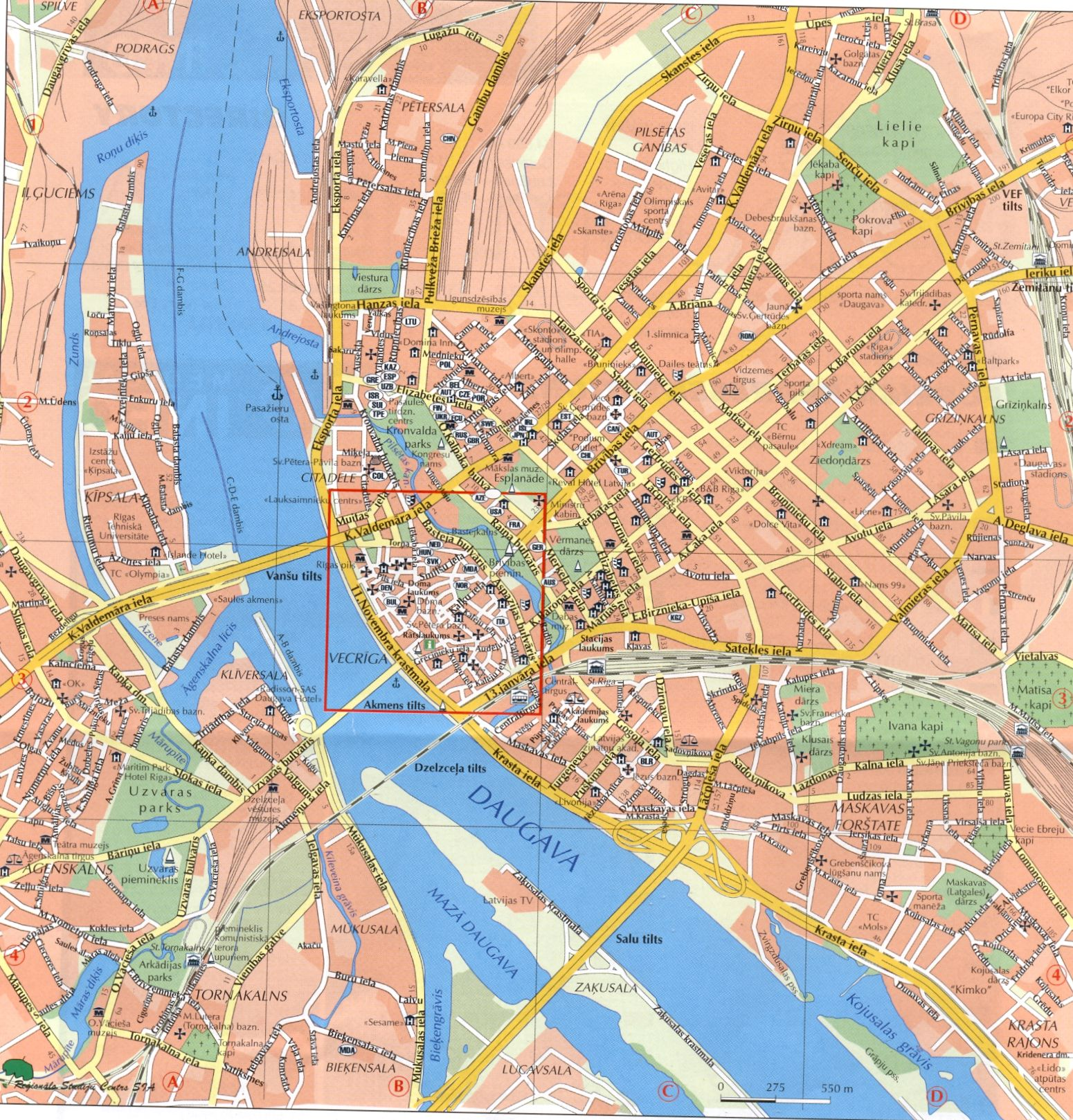 Maps of Latvia and the capital city Riga in the Baltics Region of NE