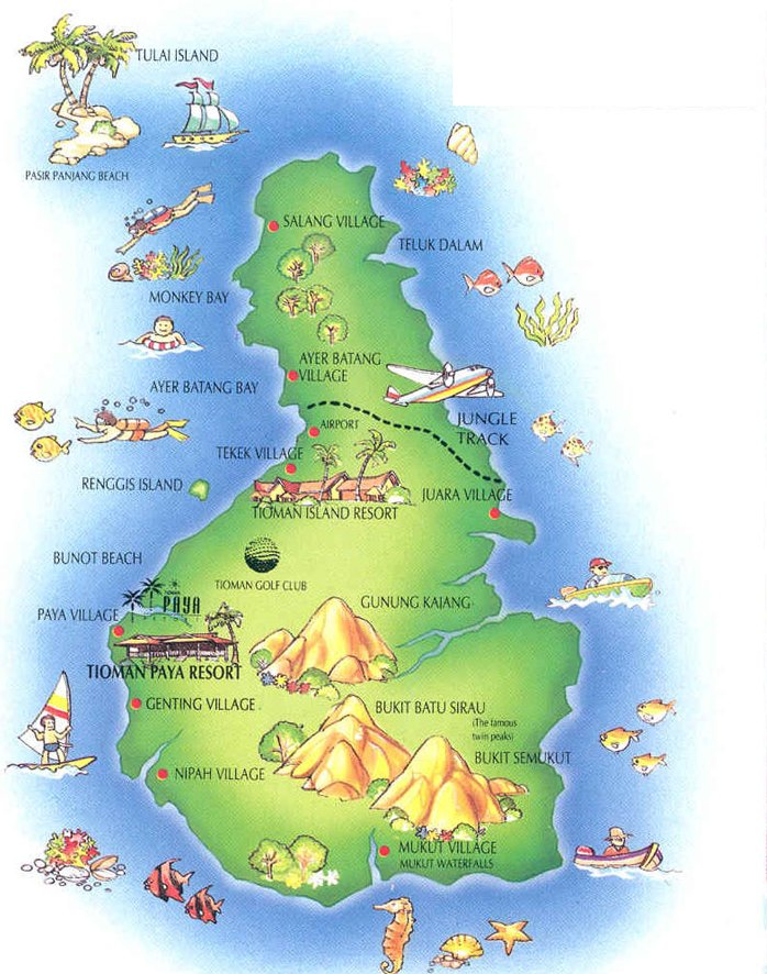 Tourism Map of Pulau Tioman ( Tioman Island ) off East Coast of Peninsular ( Western ) Malaysia