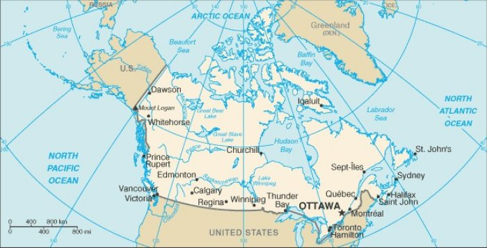 Map Of Canada Showing Major Cities And Mountains - Mountains in canada map