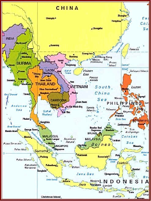 map of se asia china thailand malaysia vietnam