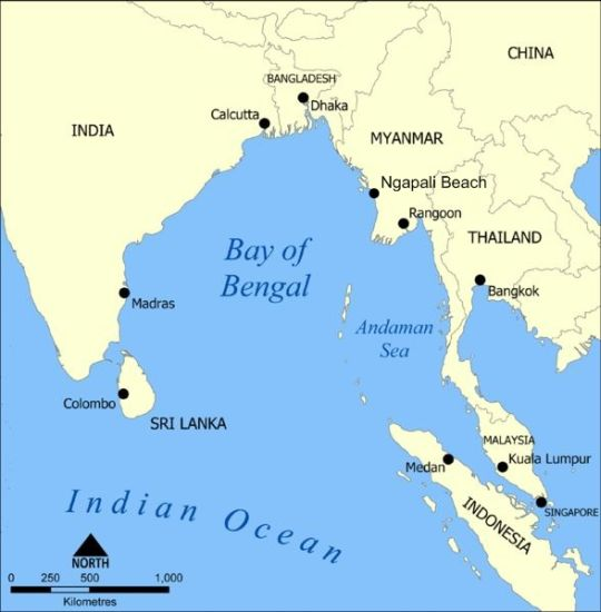 Map of Bay of Bengal