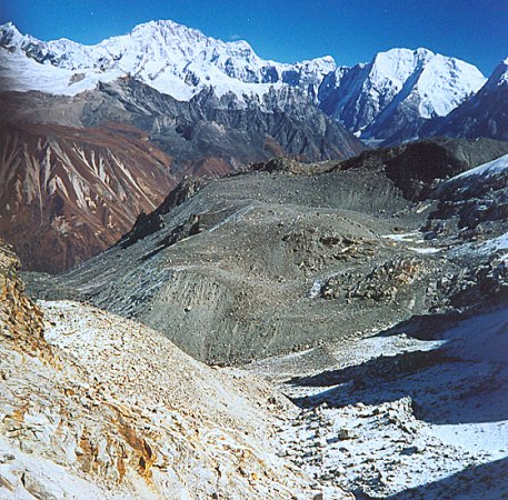 Gosainthan ( Shisha Pangma ) on ascent to Ganja La in the Langtang Himal of Nepal