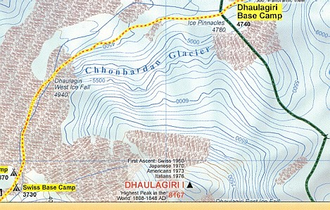 Dhaulagiri Base Camp - Chonbarden Glacier access route