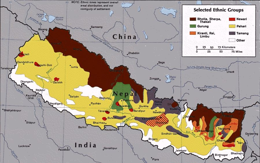 Map of the Ethnic Groups in Nepal