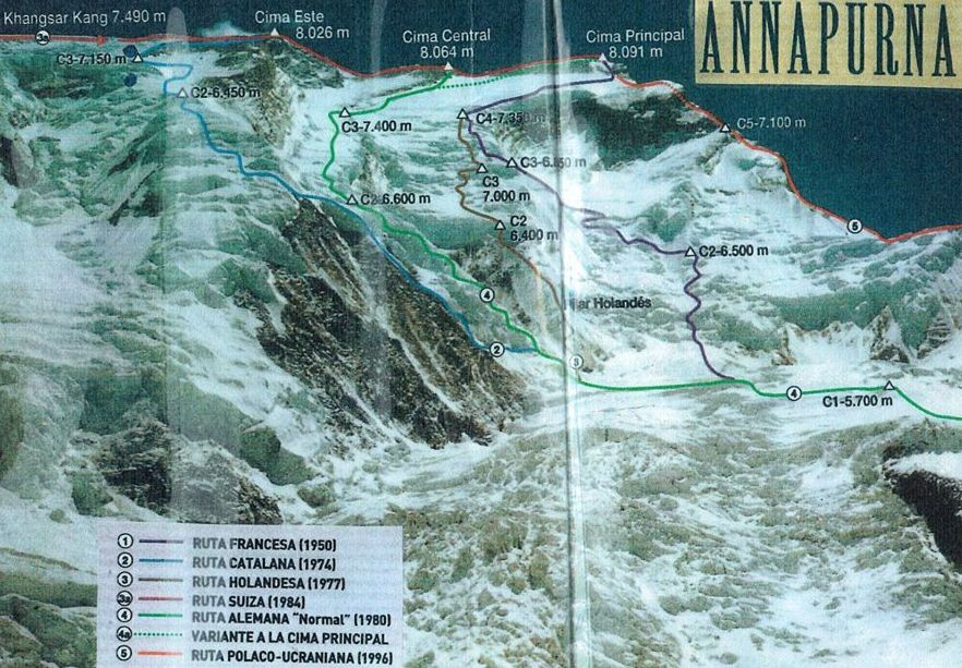 Ascent Routes on Mount Annapurna