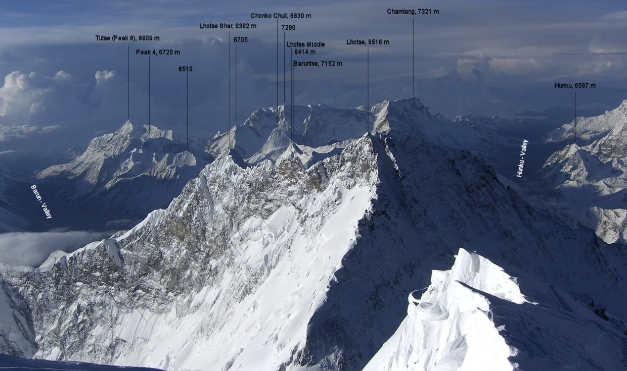 Lhotse and Everest from Makalu