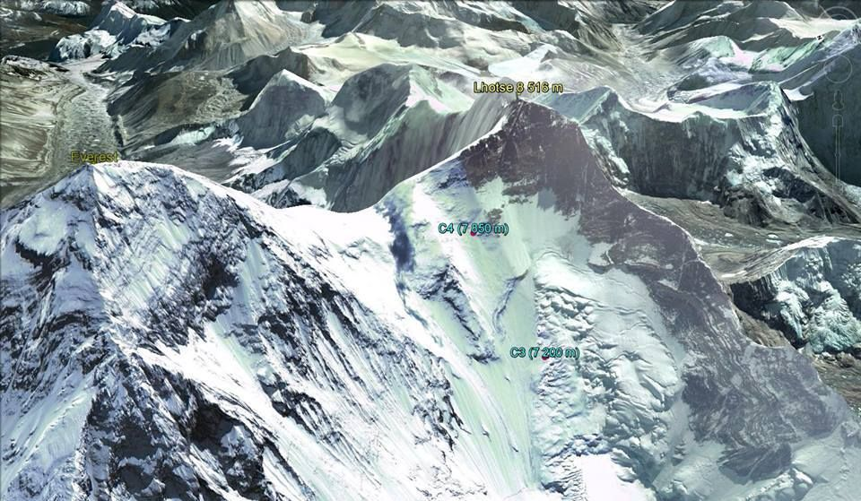 Everest and high camps on ascent route for Lhotse ( 8516m )