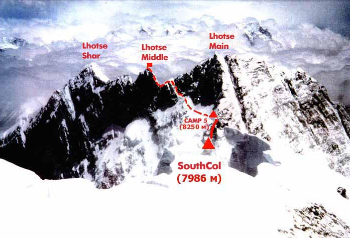 Ascent route on Lhotse ( 8516m ) above the Western Cwym