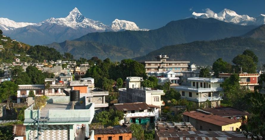 Annapurna South Peak, Macchapucchre ( Fishtail Mountain ) and Annapurna III from Pokhara