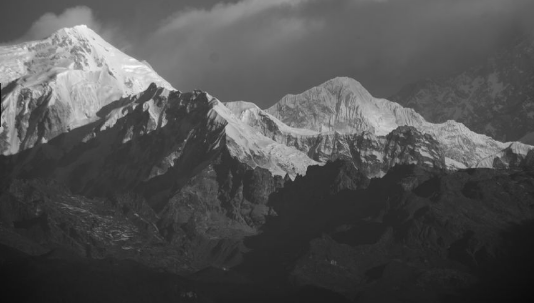 Mount Kabru and Kabru Dome in the Kangchenjunga Range from Sikkim in NE India