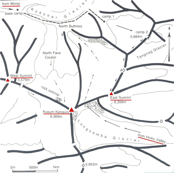 Access Routes and Location Map for Kusum Kanguru in the Hinku Valley