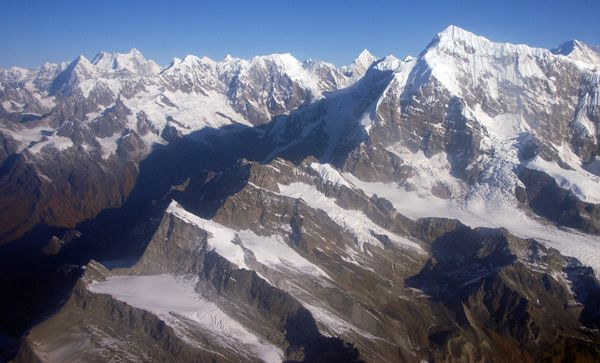 Aerial view of Mount Numbur in Solo Khumbu Region of the Nepal Himalaya