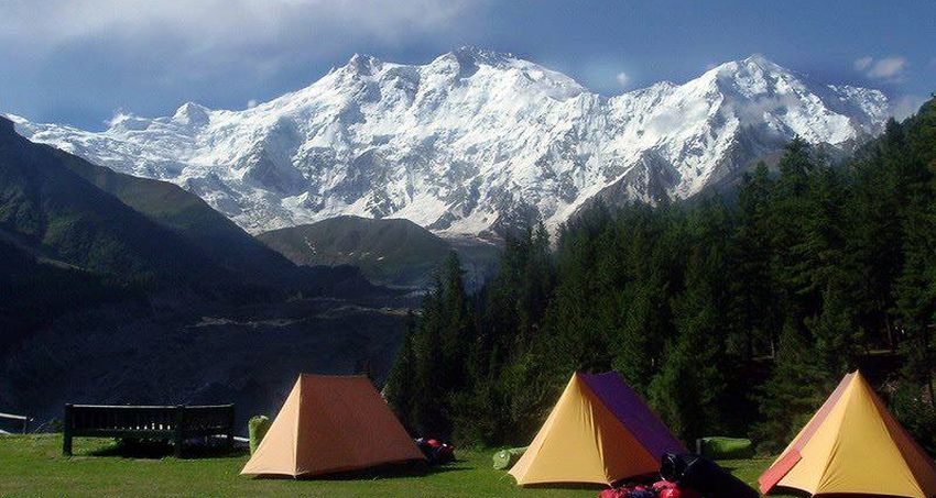 North ( Rakhiot ) Face of Nanga Parbat from camp in  Fairy Meadows