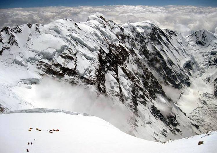 Camp IV on the Diamir Face of Nanga Parbat - the World's ninth highest mountain in the Pakistan Karakorum