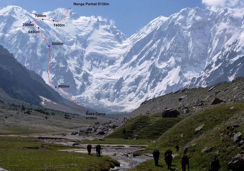 Ascent Route on Nanga Parbat