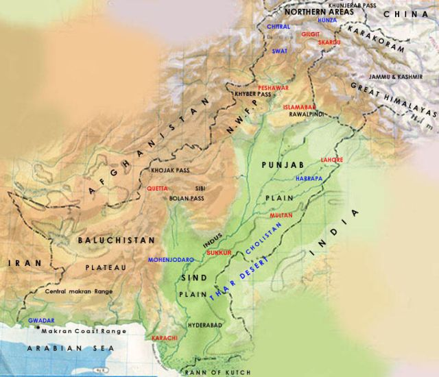 Relief Map of Pakistan