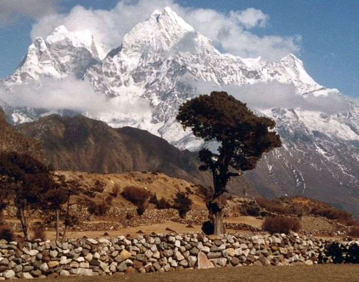 Kang Taiga and Thamserku from Thame Village in the Everest Region of the Nepal Himalaya