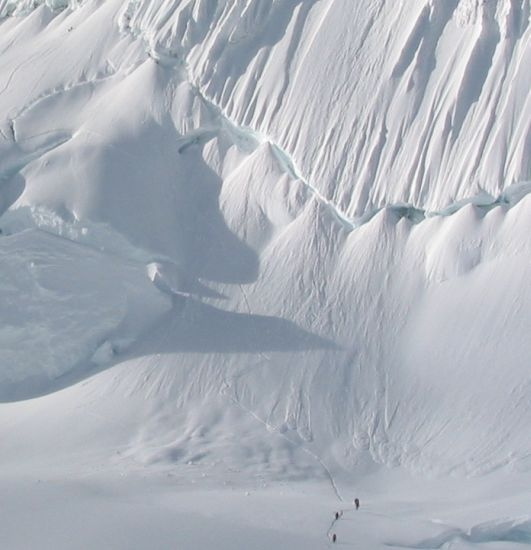 Climbers on Alpamayo in Andes of Peru