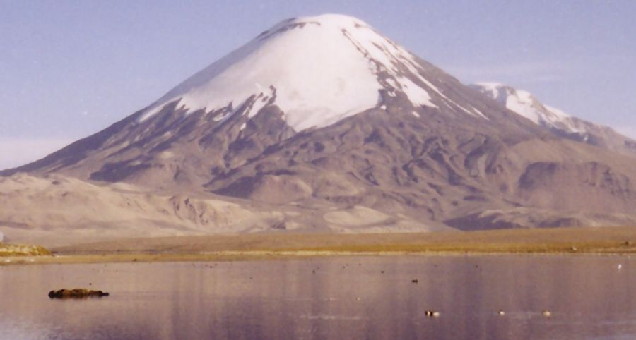 Parinacota volcano and Chungara Lake in Chile