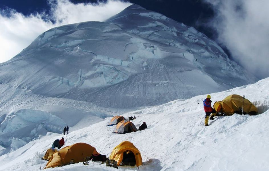 Camp on Huascaran in the Cordillera Blanca of the Andes of Peru