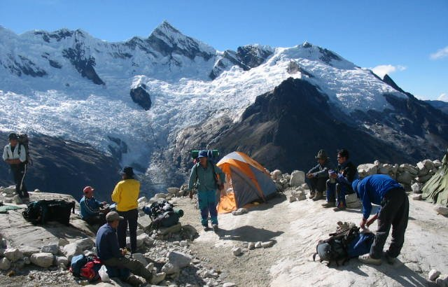 Camp Morena on Alpamayo in Andes of Peru