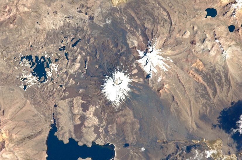 Satellite view of Pomerape and Parinacota on Chile - Bolivia Border