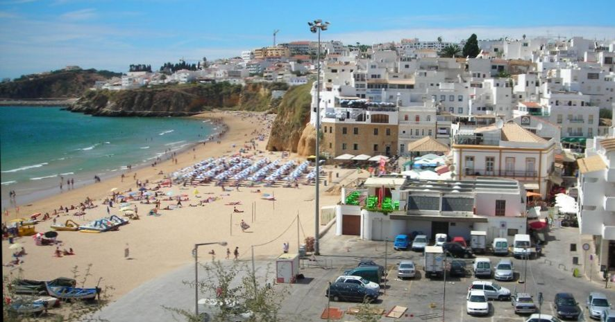 Beach at Albufeira in The Algarve in Southern Portugal