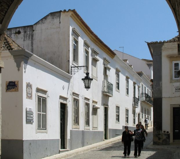 Street in Old District of Faro in The Algarve in Southern Portugal