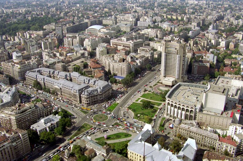 Aerial view of University Square in Bucharest, Romania