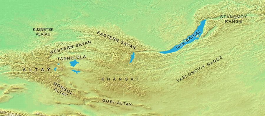 Map of the Sayan-Altai Mountains Region