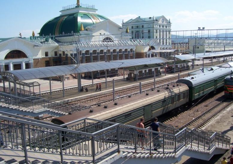 Krasnoyarsk station on Trans-Siberian Railway in Russia