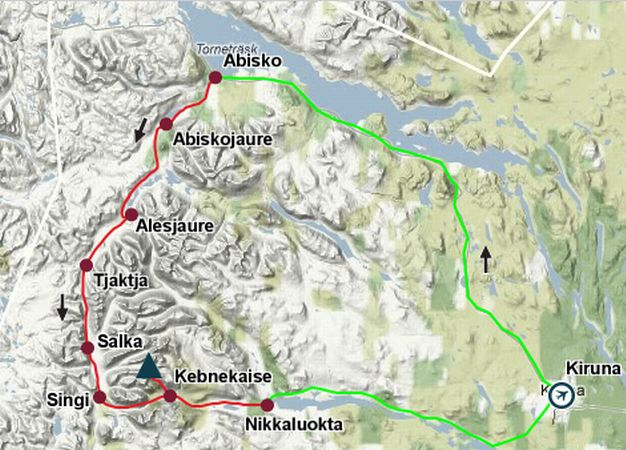 Photographs And Route Map Of The Kings Trail Kungsleden To - Sweden map bd6