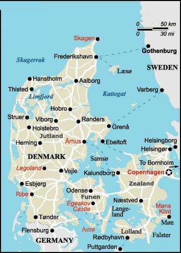 Map of Denmark and Street Map of Copenhagen