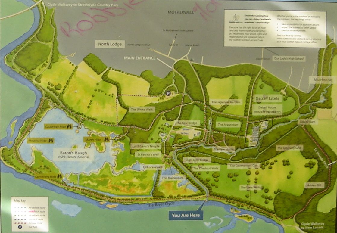 Photographs and map of Glennifer Braes Country Park above Paisley