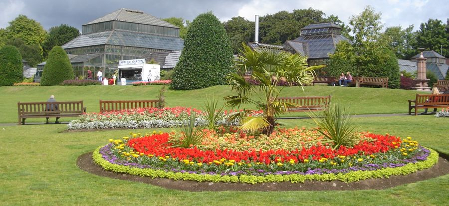 Flower beds and Glasshouses in the Botanic Gardens in Glasgow