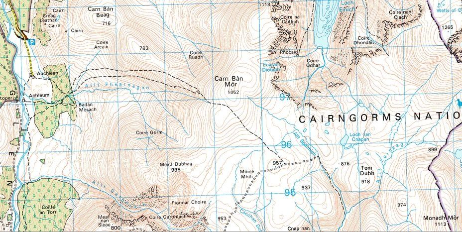 Map of Moine Mhor and Monadh Mor in the Cairngorms Massif