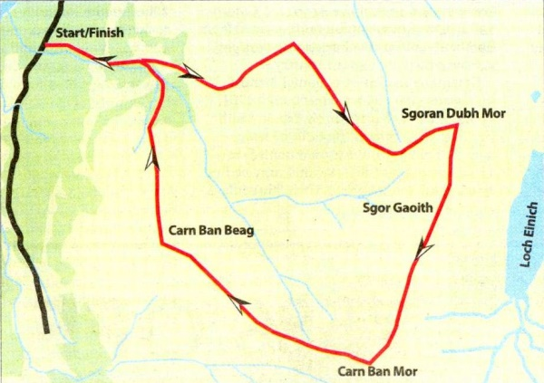 Map of Sgor Gaoith in the Cairngorms Massif