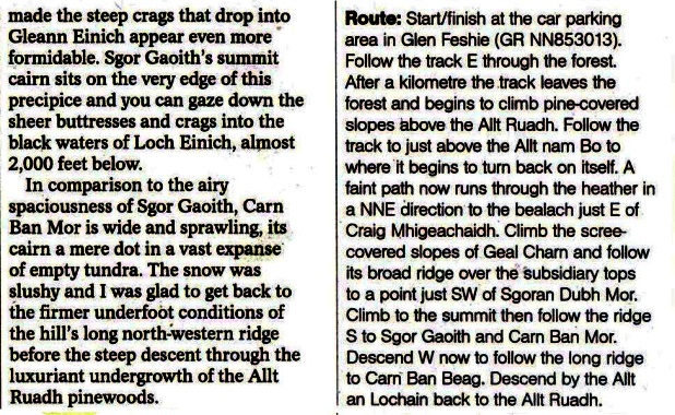 Route Description for Sgor Gaoith in the Cairngorms Massif