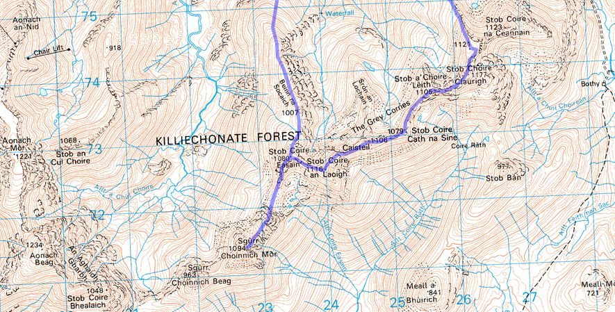 Map of The Grey Corries