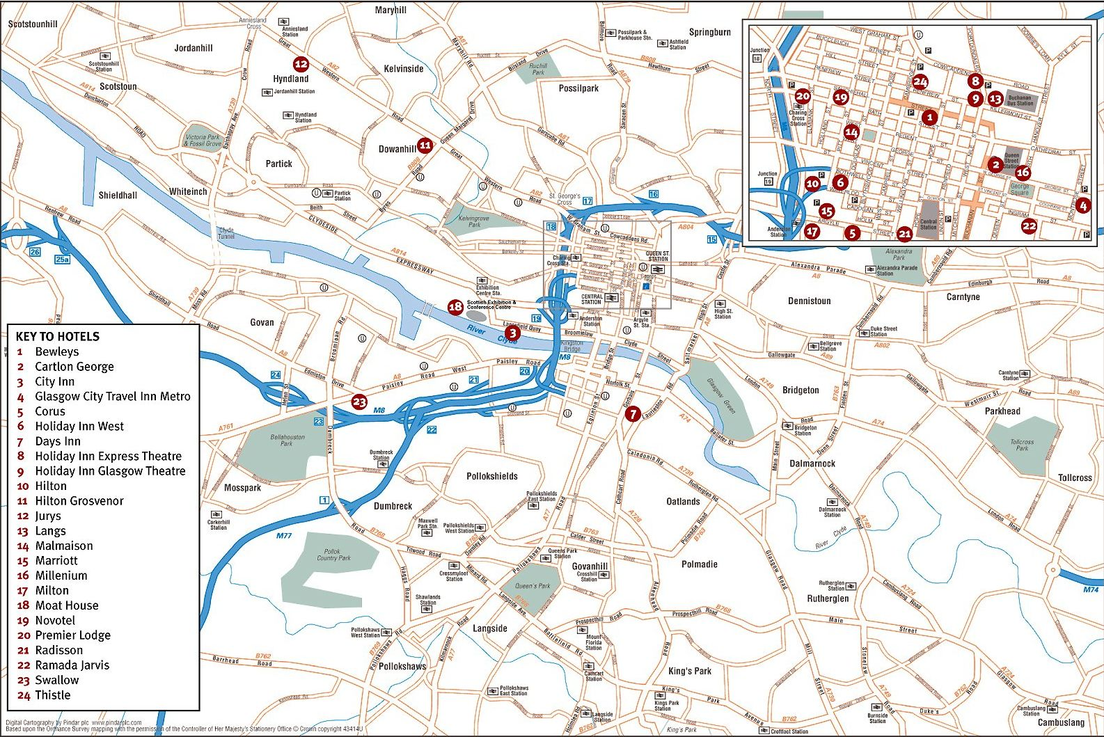 Maps of Glasgow the largest city in Scotland