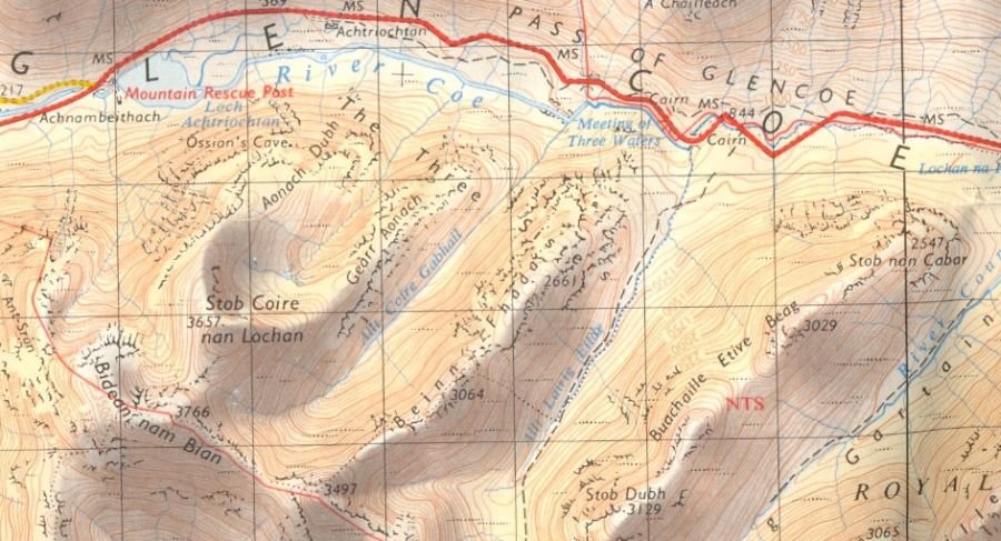Map of Bidean Nam Bian in Glencoe