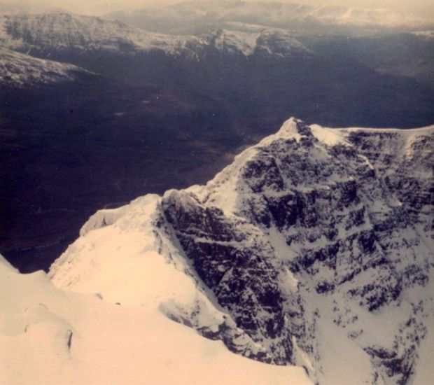 Snow-bound Summit Ridge of Liathach in the Torridon region of the North West Highlands of Scotland